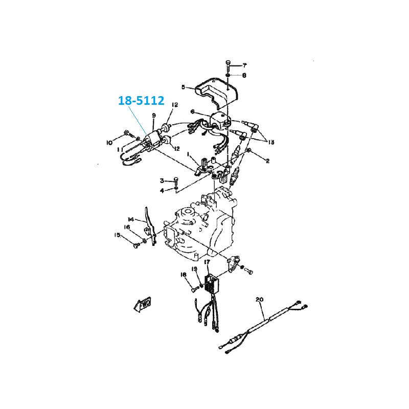 Bobine d'allumage hors bord Yamaha 9.9-15cv