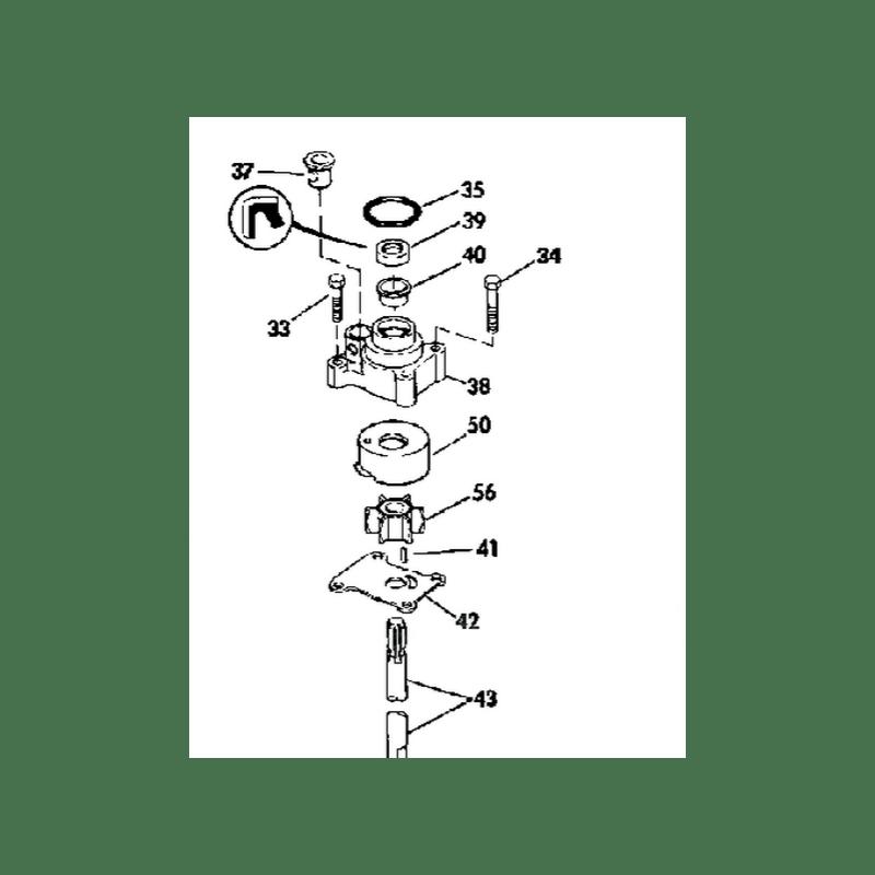 Kit pompe à eau + corps Johnson Evinrude 8, 9.9 et 15 cv