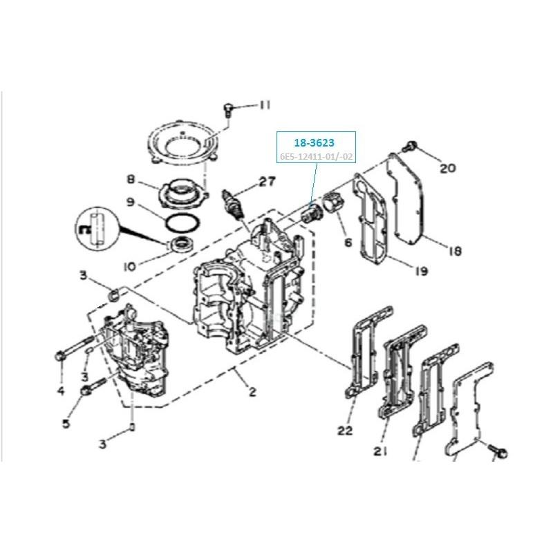 Thermostat moteur hors bord Yamaha de 3, 4, 5, 6, 8 , 25