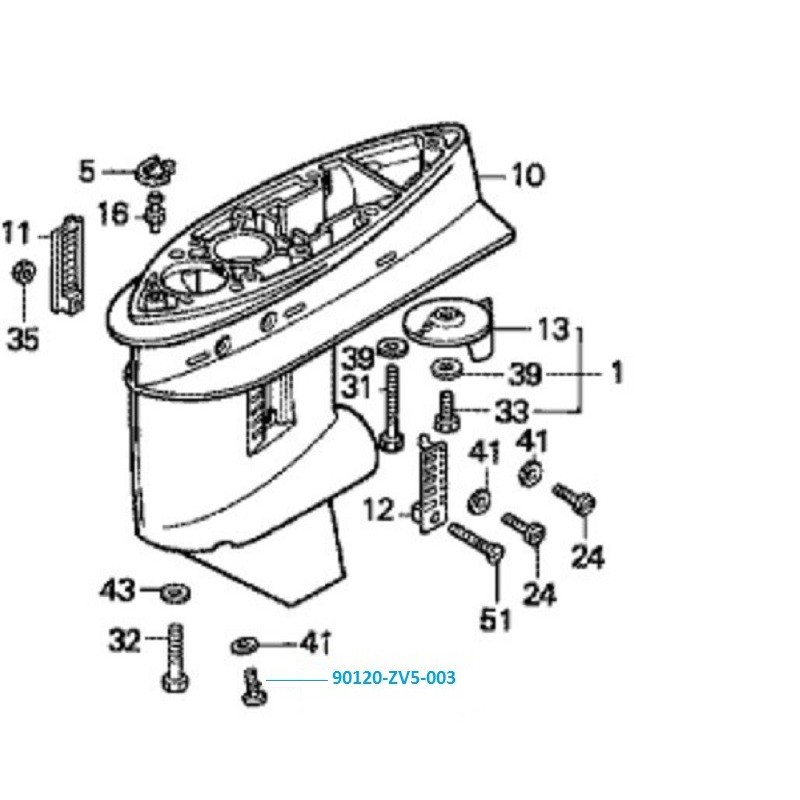 Vis de vidange embase Honda BF20 à BF150