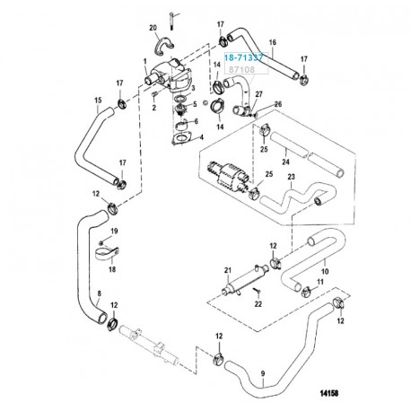Durite d'eau pour pompe de circulation Moteurs V6 et V8