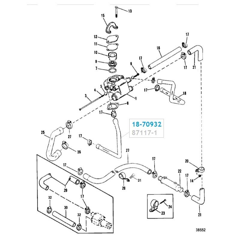 Durite d'eau Thermostat à Collecteur droit Mercruiser V6