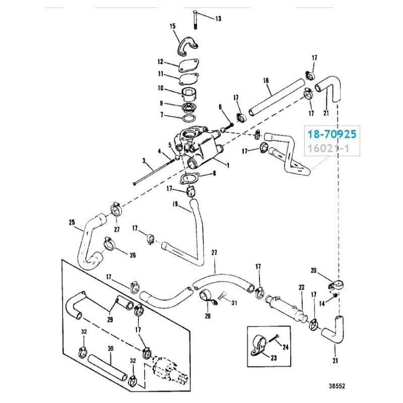 Durite d'eau Thermostat à Collecteur gauche Mercruiser V6