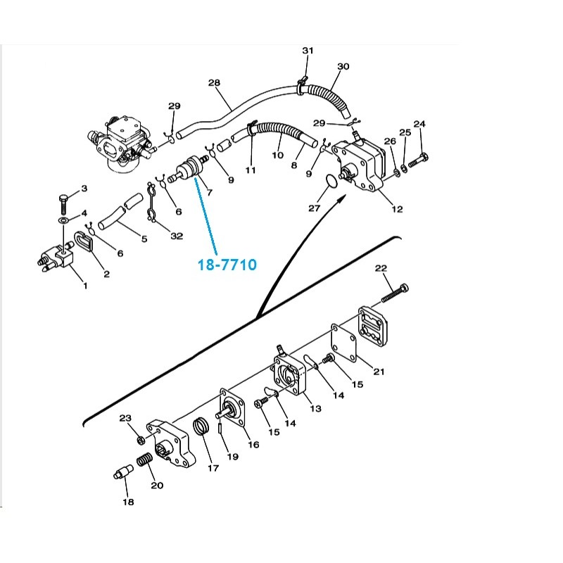 Filtre Essence hors bord Yamaha F4, F6, F8 et T9.9, 4