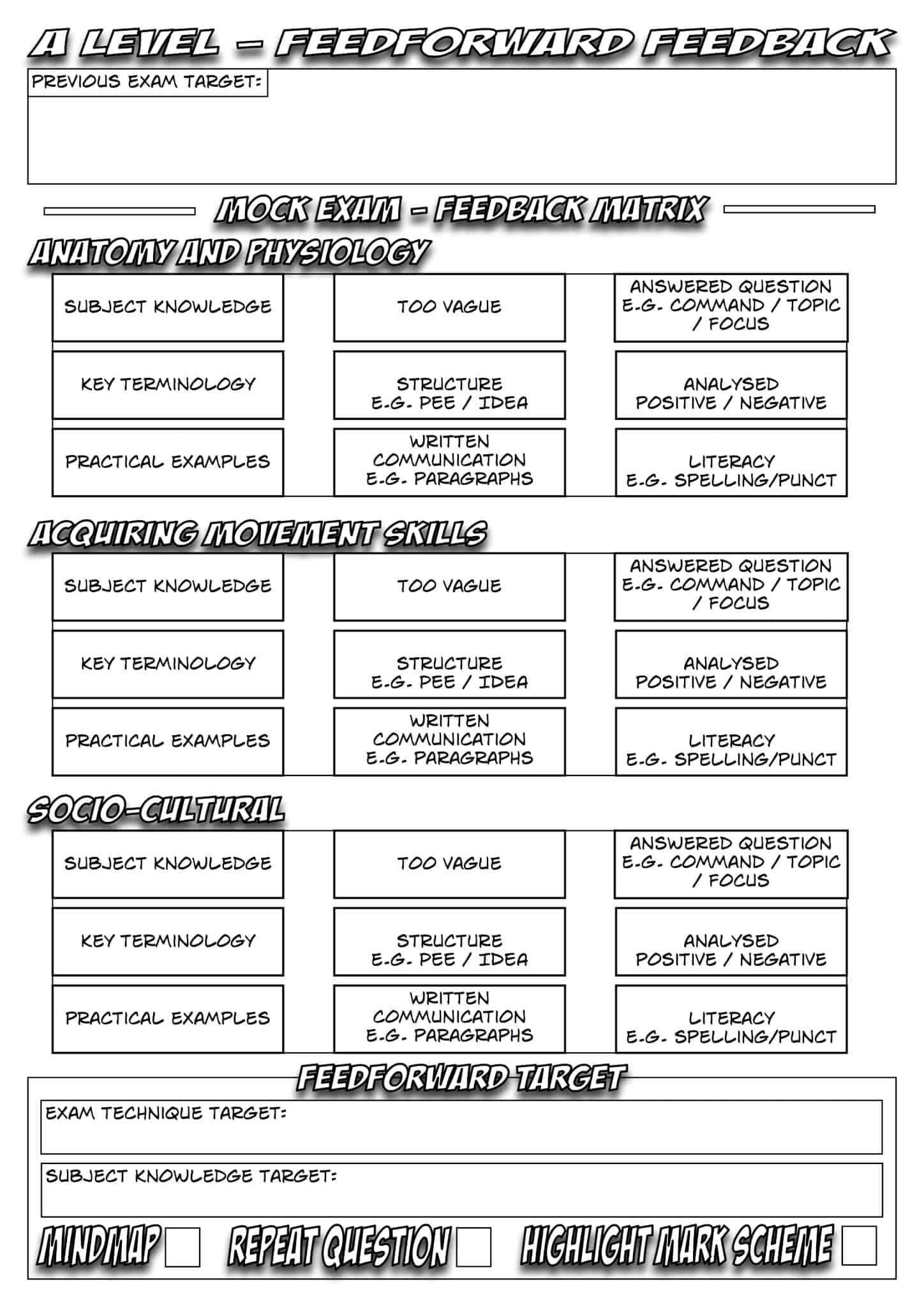 Feedforward Feedback Sheet A Level Ocr
