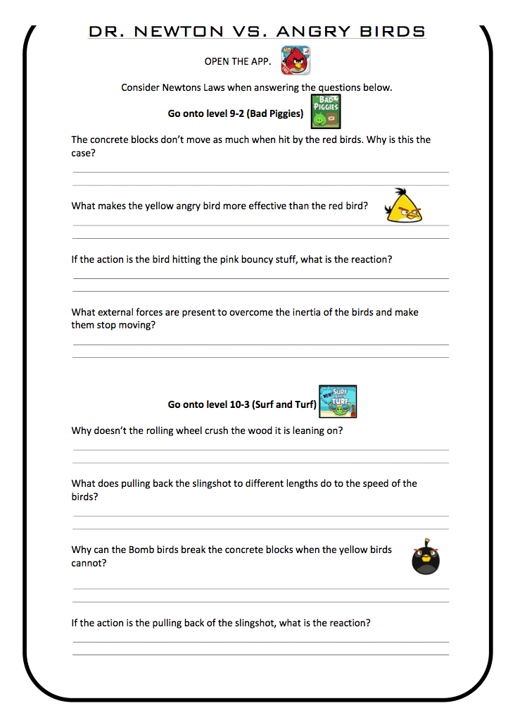 Newtons Laws Vs Angry Birds PE Scholar – Inertia Worksheet