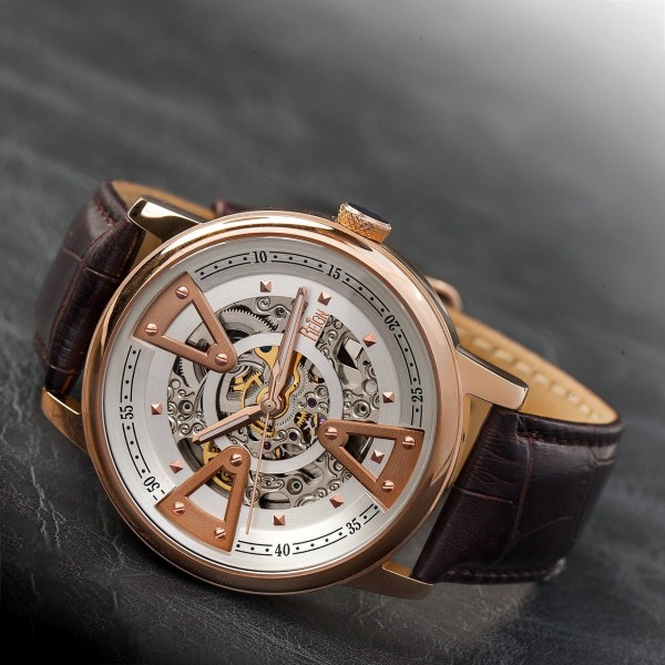 Reign Belfour Automatic Skeleton Dial Leather-Band Watch