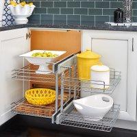 Blind Corner Cabinet Pull-Out Chrome 2-Tier Basket ...