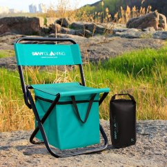 Folding Chair With Cooler V-tip Stability Plug Mini Portable Built In By Savvy