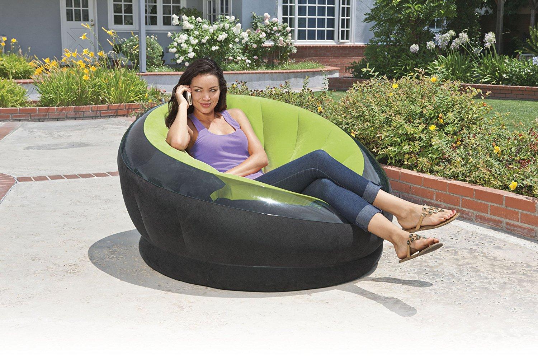 inflatable lawn chair high basket intex empire  petagadget