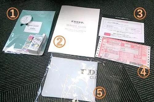 エディストクローゼットのお届けセットには、アイテム4点の他に、返却袋、返却用伝票、サービスガイド、注意事項が同梱している