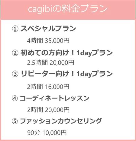 cagibiの料金プランは、スペシャルプラン、はじめての方向けとリピーター向けそれぞれ1dayプラン、コーディネートレッスン、ファッションカウンセリングの5種類