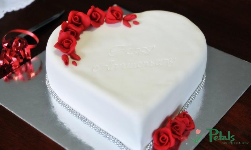 Wedding Cake With Rose Petals