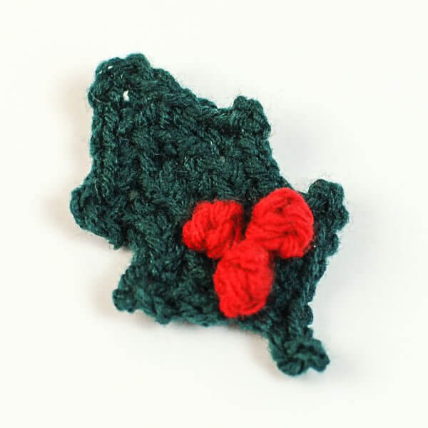 Crocheted Holly Leaf With Berries Petals To Picots