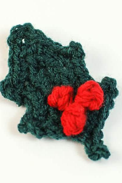 Crocheted Holly Leaf with Berries