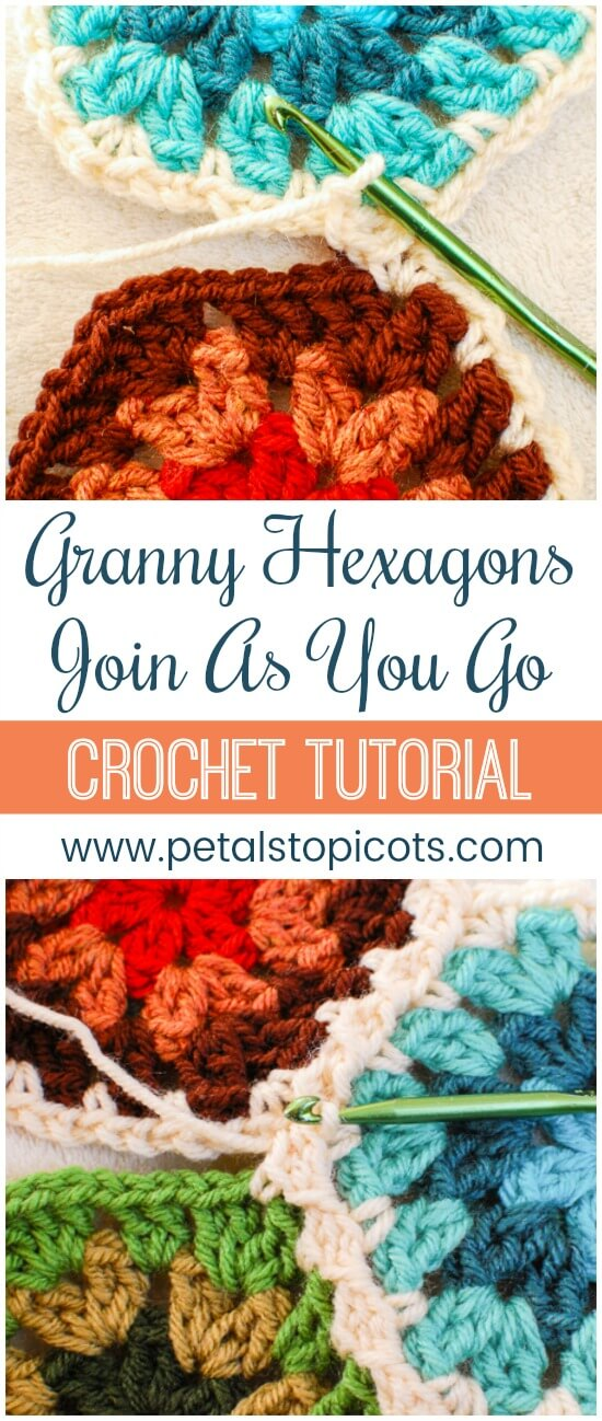 Join granny hexagons easily with the join as you go (JAYGO) method. Not only is does it help you join the pieces quickly but it also creates a beautiful design between your motifs! #petalstopicots