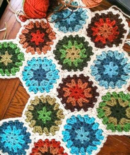 Granny Hexagon Pattern and Photo Tutorial for Granny Hexagon Afghan