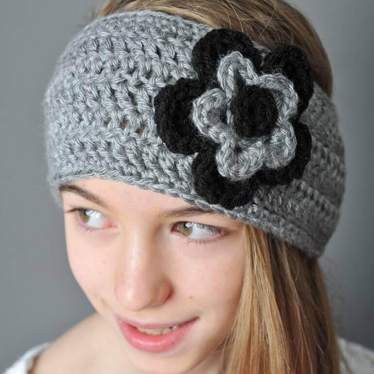 Crochet Ear Warmer With Layered Flowers Petals To Picots Inspiration Crochet Ear Warmer Pattern