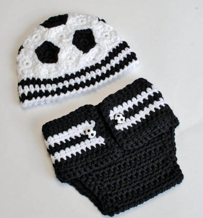 Newborn Soccer Hat And Diaper Cover Petals To Picots