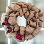 Burlap Wreath with Felted Crochet Flowers
