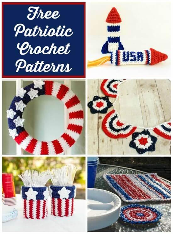 Free 4th of July Crochet Patterns   www.petalstopicots.com   #crochet #patriotic #4thofJuly