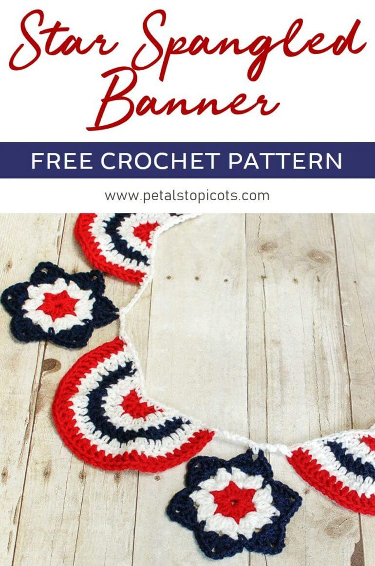Celebrate the Red, White, and Blue with this quick and easy Star Spangled Banner pattern! #petalstopicots