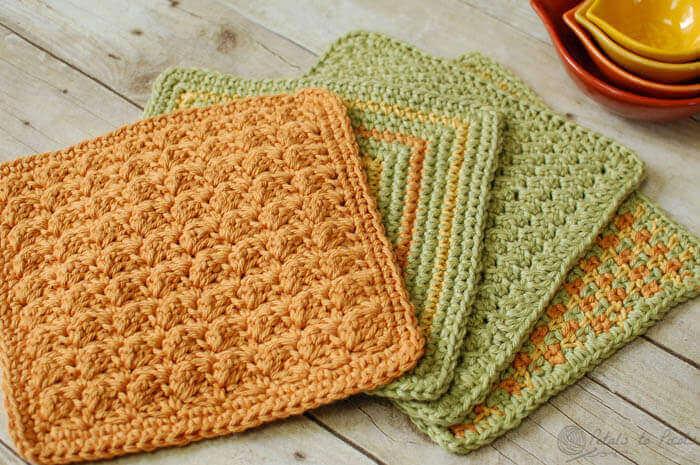 4 Quick and Easy Crochet Dishcloth Patterns | www.petalstopicots.com | #crochet #fiber