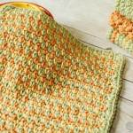 Three Color Simple Stitch Crochet Dishcloth Pattern