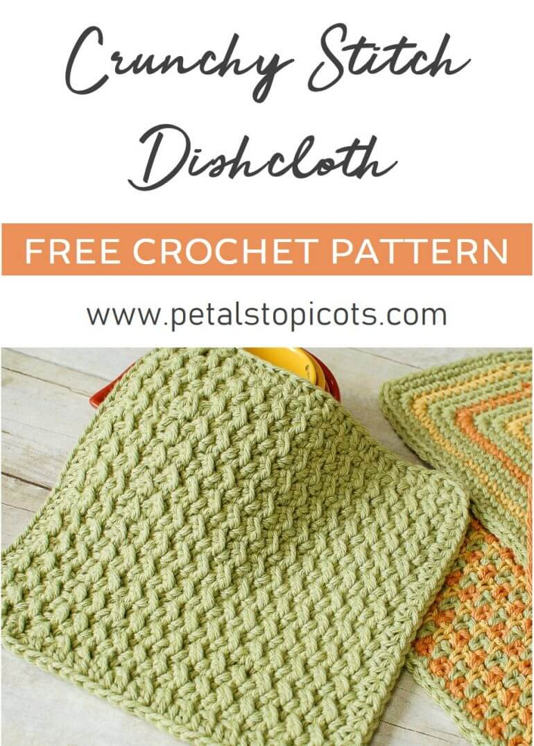This crunchy stitch crochet dishcloth pattern features a fun and easy stitch that gives a great textured design. The pattern uses only two basics stitches, slip stitches and half double crochets, but when used in an alternating sequence the effect looks much more complex. #petalstopicots