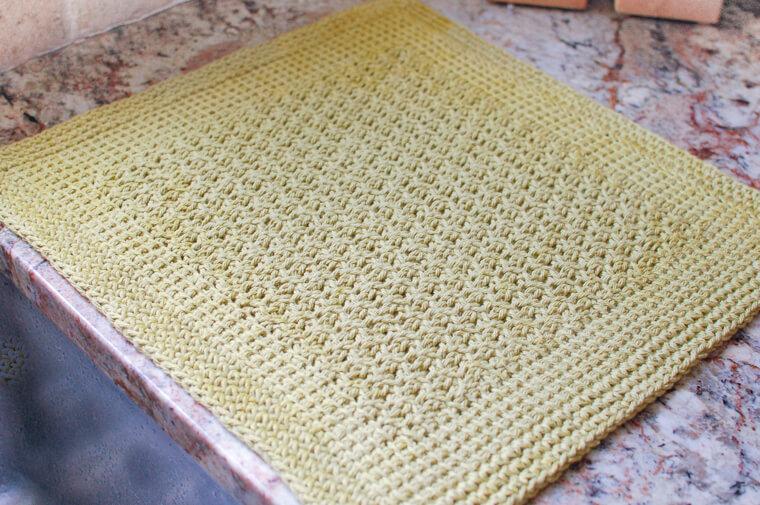 Tunisian Crochet Dish Drying Mat Pattern | Petals to Picots