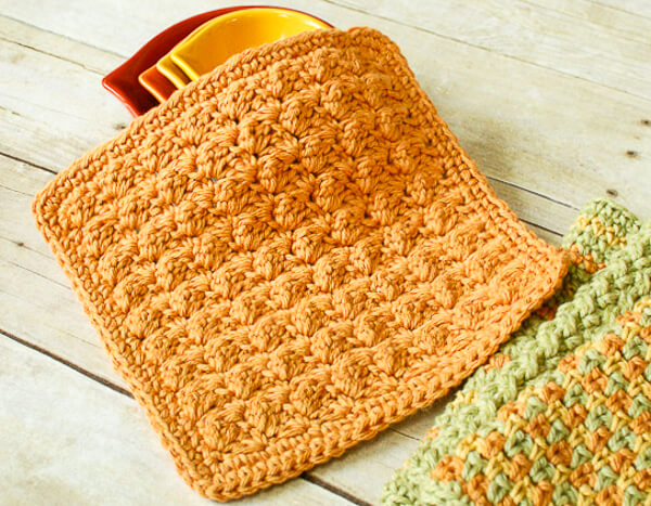 Textured Crochet Dishcloth Pattern Petals To Picots Inspiration Best Crochet Dishcloth Pattern