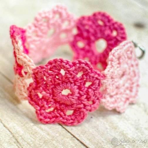 Crochet Flower Bracelet Petals To Picots