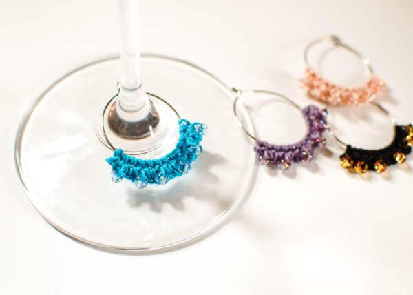 Beaded Crochet Wine Glass Charms | Free crochet patterns | www.petalstopicots.com