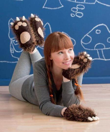 Beastly Crochet - Sasquatch Slippers and Mittens beauty shot