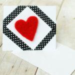 Needle felted heart handmade Valentines card