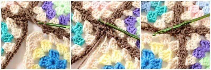 Joining Granny Squares With the Join As You Go (JAYGO) Method Step 6