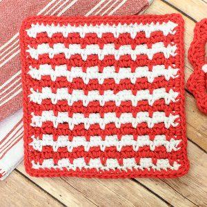 Free Crochet Dishcloth Pattern | www.petalstopicots.com | #crochet #pattern #dishcloth #washcloth