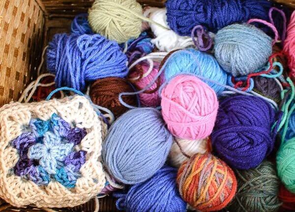 Yarn scraps and granny squares