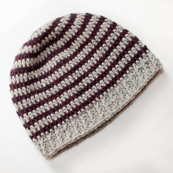 Basic Striped Crochet Hat Pattern | www.petalstopicots.com