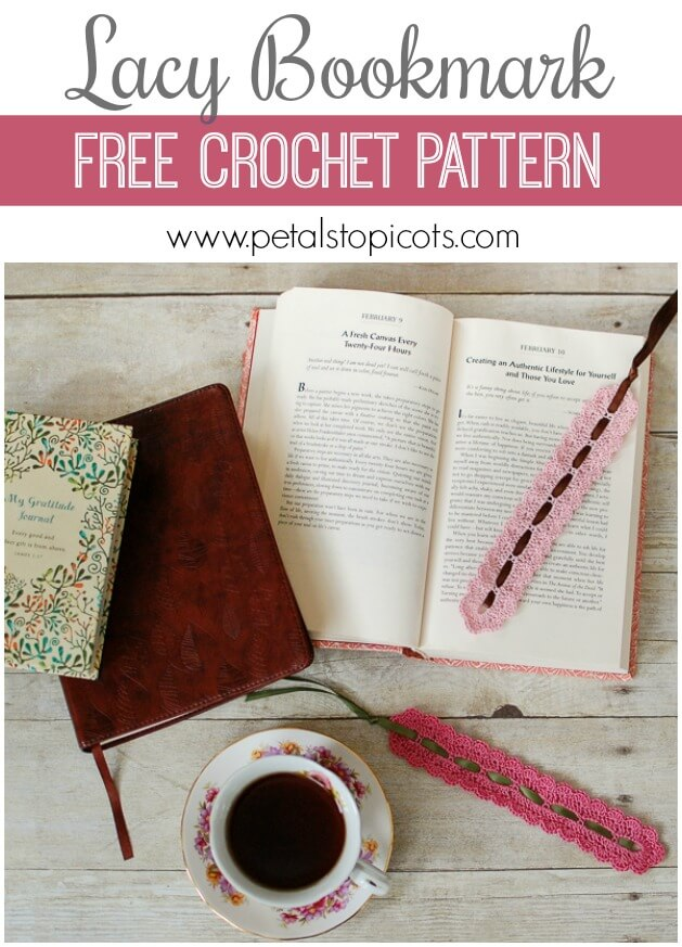 A pretty lace bookmark is timeless …this Lacy Bookmark Pattern is a super quick and easy and comes out gorgeous ... it's even perfect for gifting!! #petalstopicots