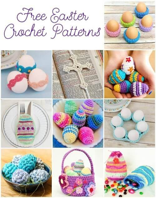 Free Easter Crochet Patterns Crochet Eggs Lace Cross Treat Bag