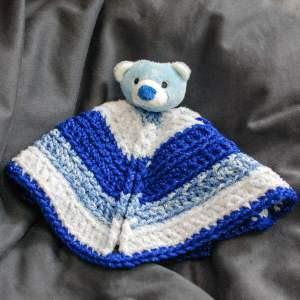 """Top This"" Bear Crochet Lovey Pattern | www.petalstopicots.com | #crochet #baby #lovey #gift"