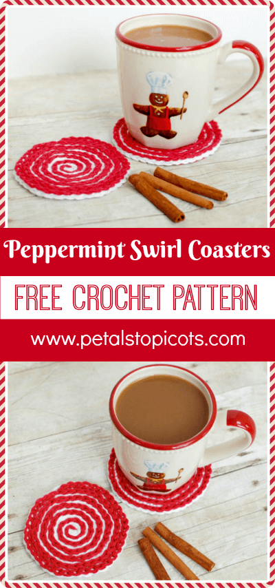 These Peppermint Swirl Crochet Coasters are perfect for adding holiday charm to your home or for gifting. Work up a set and pair it with some gourmet hot chocolate mix and marshmallows and you have a great gift set! #petalstopicots