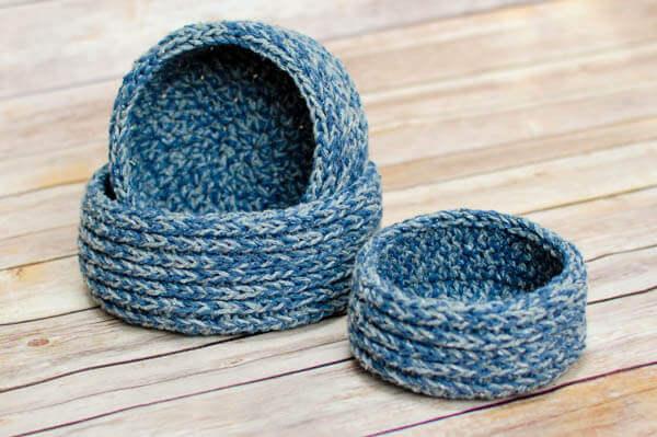 Chunky Nesting Baskets Crochet Pattern Petals To Picots