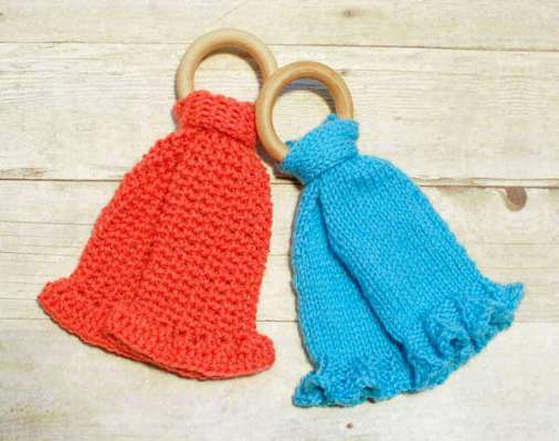 Teether Lovey Patterns ... Crochet and Knit Versions | www.petalstopicots.com | #crochet #knit