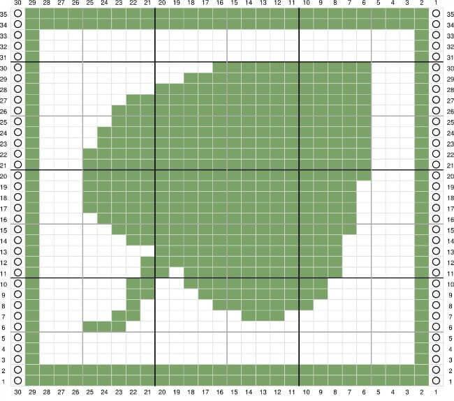 Leaf Tunisian Crochet Dishcloth Stitch Chart | www.petalstopicots.com