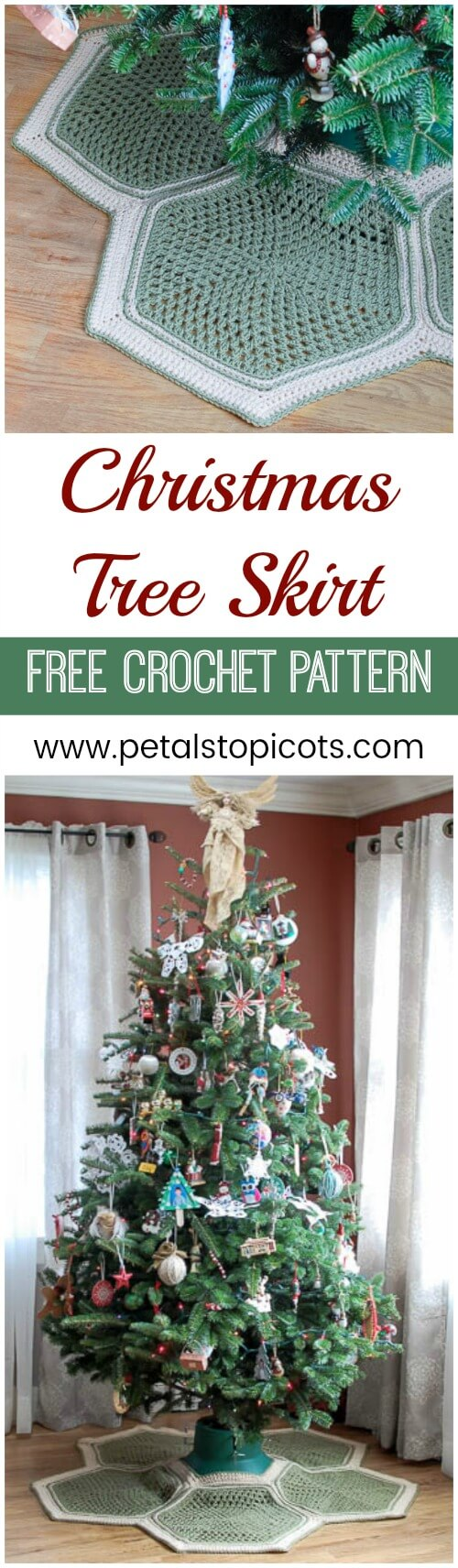 Granny Hexagon Crochet Tree Skirt Petals To Picots