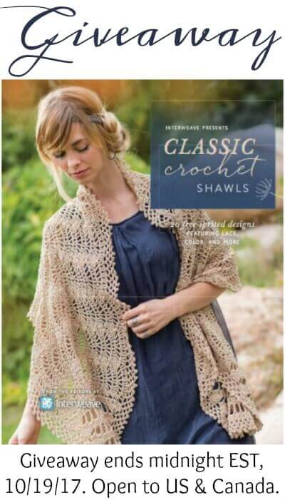 Interweave Presents: Classic Crochet Shawls - Book Giveaway. Ends midnight 10/19/17 EST.