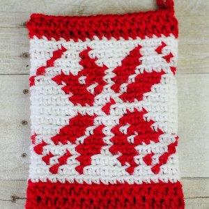 Fair Isle Snowflake Christmas Stocking Crochet Pattern | www.petalstopicots.com