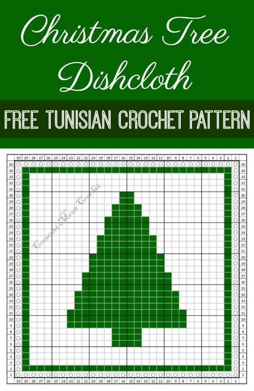 This Christmas Tree dishcloth is perfect for your holiday kitchen ... makes a great gift too! Free Tunisian crochet pattern. #petalstopicots